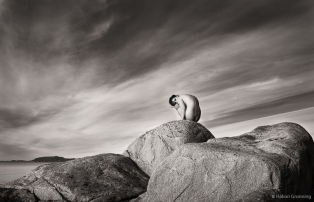Sculpture on the cliff - with Julie B.