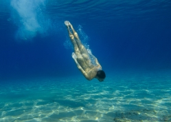 Diving in blue